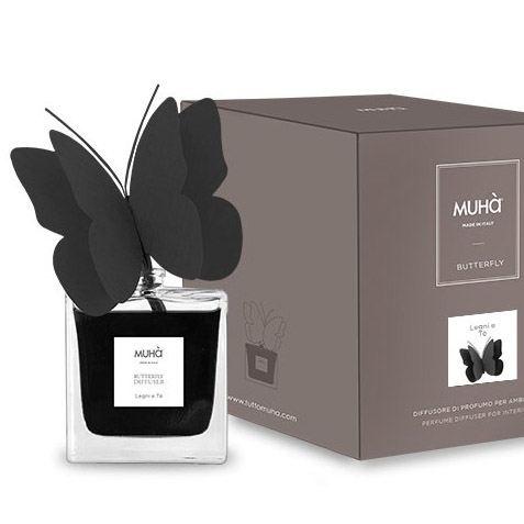 Pillangó illatosító diffúzor Fekete 80 ml - Fák & tea illat, MUHA