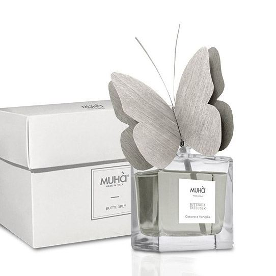 Pillangó illatosító diffúzor 50ml - Pamut & vanília illat, MUHA