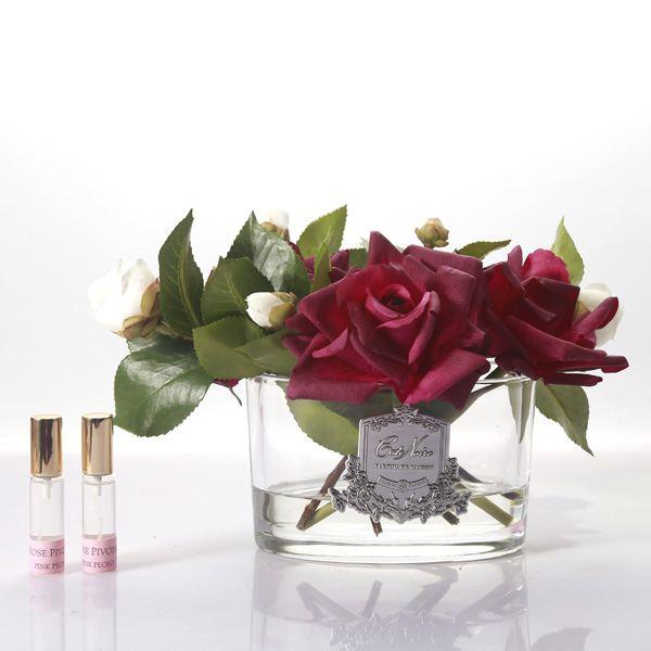 Rózsa design diffúzor kármin, ovális üvegben - Bazsarózsa illat, Cote Noire