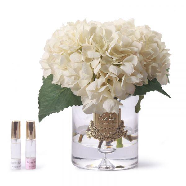 Rózsa és hortenzia design diffúzor fehér - Bazsarózsa illat, Cote Noire