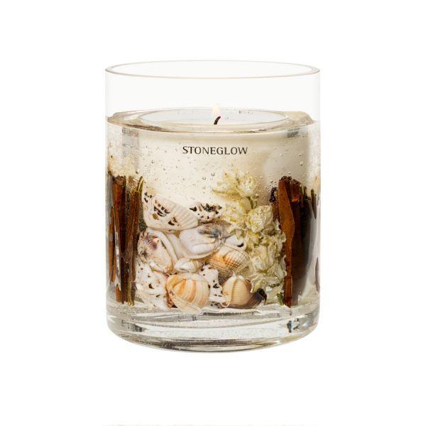 Illatgyertya gél díszítéssel 30h - Tengerparti virágok illat, Stoneglow