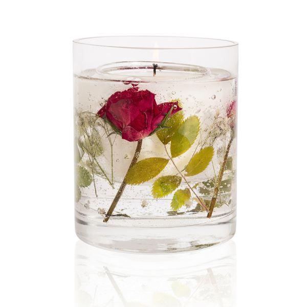 Illatos gyertya gél díszítéssel 30h - Vörös rózsa illat, Stoneglow