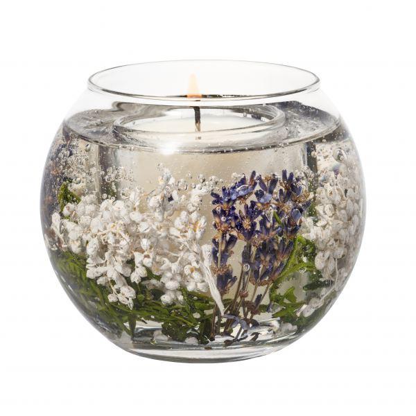 Illatgyertya gömb üvegben 15 h - Levendulamező illat, Stoneglow
