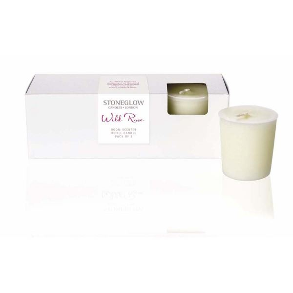 Wild Rose Candle Refill 3pk Botanic collection
