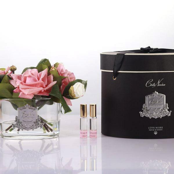 Rózsa design diffúzor barack szín, ovális üvegben  - Bazsarózsa illat, Cote Noire