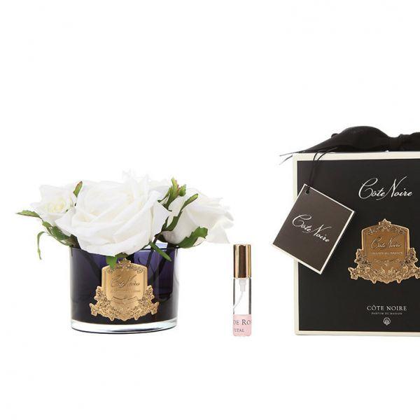 5 Rózsás design diffúzor fehér, sötét üvegben  - Rózsaszirmok illat, Cote Noire