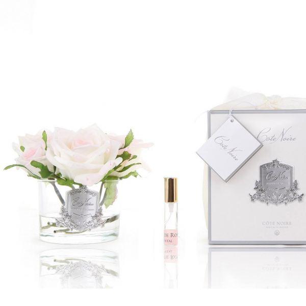 5 Rózsás design diffúzor pír szín, üvegben  - Rózsaszirmok illat, Cote Noire