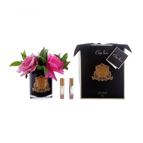 Rózsacsokor design diffúzor sötét üvegben - Rózsaszirmok illat, Cote Noire