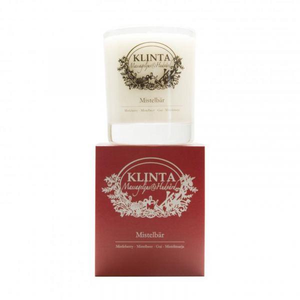 KLINTA Masszázs illatgyertya 45h - Karácsonyi fagyöngy illat