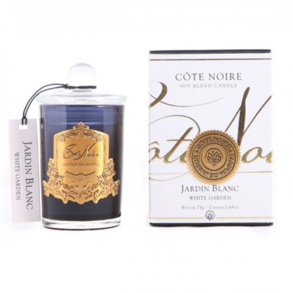 Illatgyertya 60h sötét üvegben - Fehér kert illat, Cote Noire