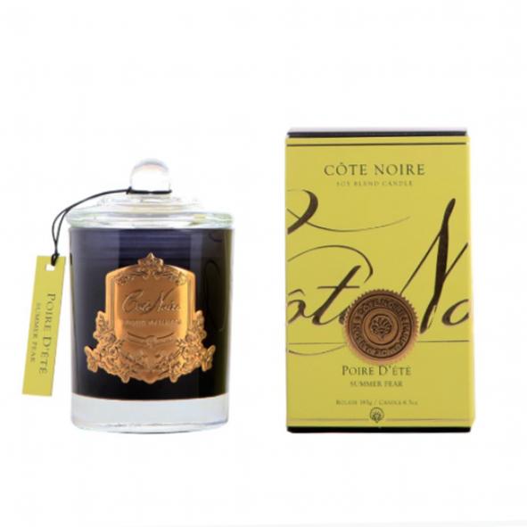 Illatgyertya 60h sötét üvegben - Nyári körte illat, Cote Noire