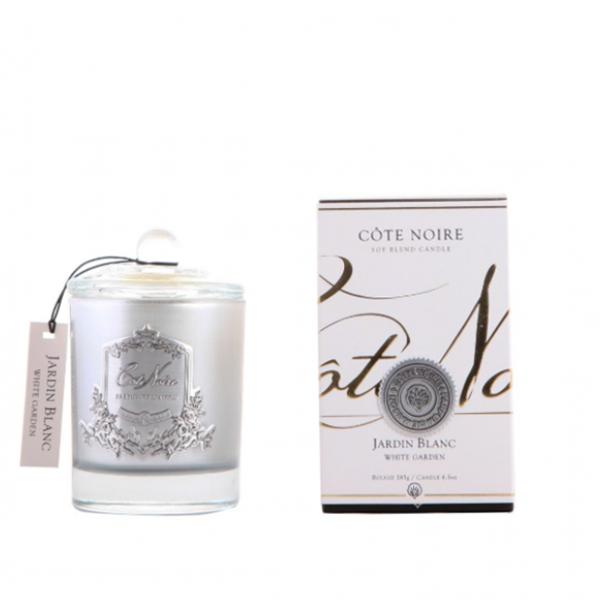 Illatgyertya 60h ezüst üvegben - Fehér kert illat, Cote Noire