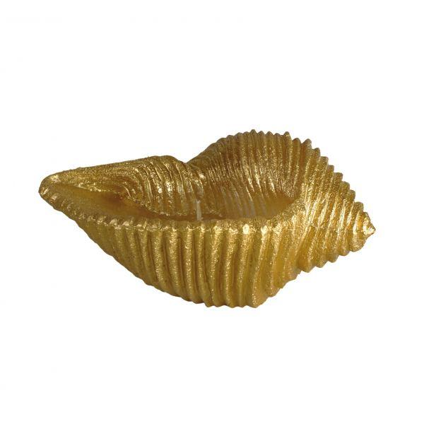 Kagyló gyertya kicsi, arany 18x8cm, Cerabella