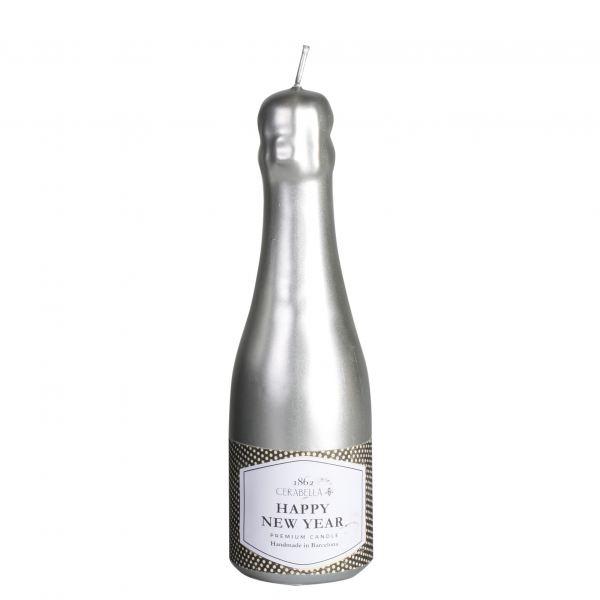 Pezsgős palack gyertya ezüst 6,5x22cm, Cerabella