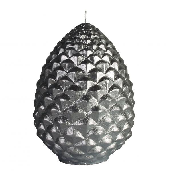 Fenyőtoboz gyertya ezüst 14,6x20cm, Cerabella