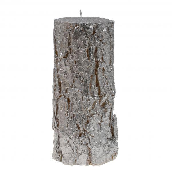 Fatörzs gyertya nagy, ezüst 10,5x24cm, Cerabella
