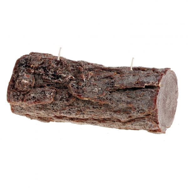 Fatörzs gyertya fekvő, barna 24x10,5cm, Cerabella