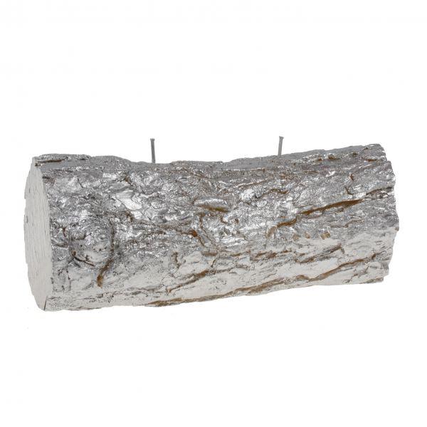 Fatörzs gyertya fekvő, ezüst 24x10,5cm, Cerabella