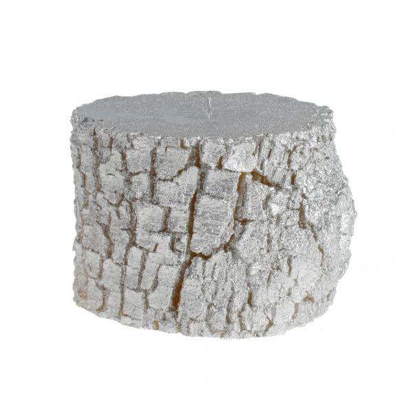 Fatörzs gyertya közepes, ezüst 12,5x9,5cm, Cerabella