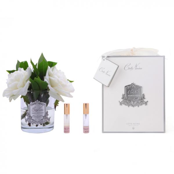 Angol rózsacsokor design diffúzor fehér, üvegben - Rózsaszirmok illat, Cote Noire