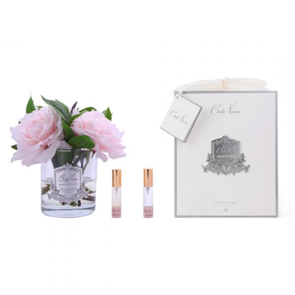 Angol rózsacsokor design diffúzor pink, üvegben - Rózsaszirmok illat, Cote Noire