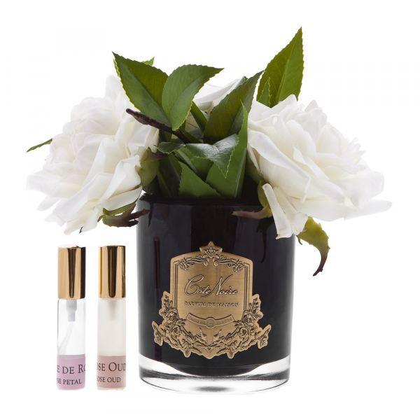 Angol rózsacsokor design diffúzor fehér, fekete üvegben - Rózsaszirmok illat, Cote Noire