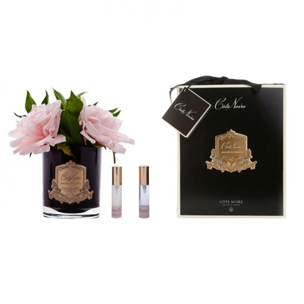 Angol rózsacsokor design diffúzor pink, fekete üvegben - Rózsaszirmok illat, Cote Noire